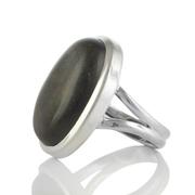 Сребърен пръстен с овален златен обсидиан