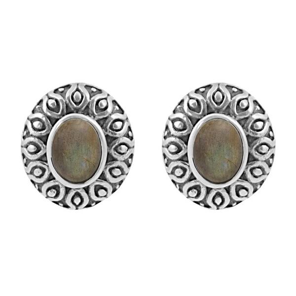 Сребърни обеци с лабрадорит в орнаментиран обков на винт