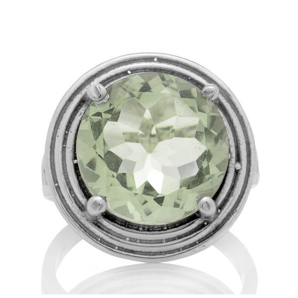 Сребърен пръстен с едър фасетиран празиолит (зелен аметист)