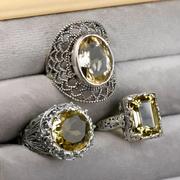Сребърни пръстени с естествен цитрин