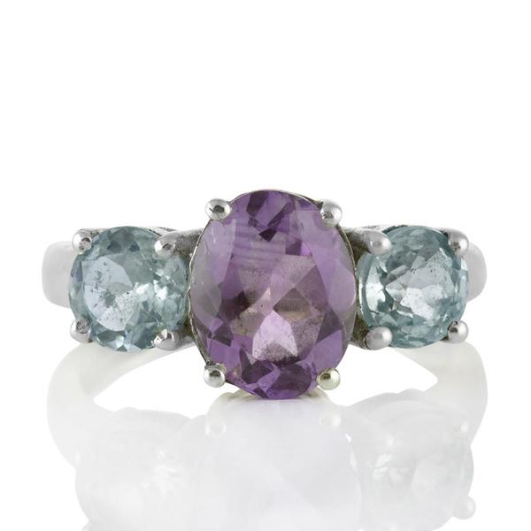 Сребърен пръстен с аметист и сини топази