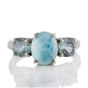 Сребърен пръстен с ларимар и син топаз