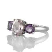 Сребърен пръстен с розов кварц и аметисти