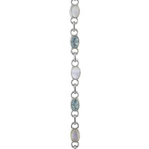 Нежна сребърна гривна с лунен камък и син топаз