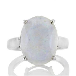 Изчистен сребърен пръстен с фасетиран лунен камък