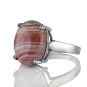 Изчистен сребърен пръстен с кабошон родохрозит