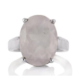 Изчистен сребърен пръстен с фасетиран розов кварц