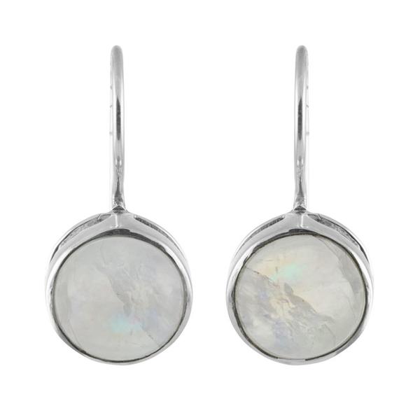 Изчистени сребърни обеци с кабошон лунен камък