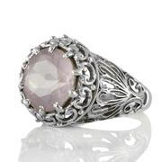 Едър сребърен пръстен с фасетиран розов кварц