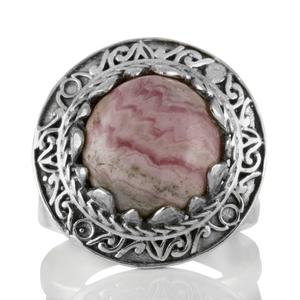 Пръстен с родохрозит в орнаментиран сребърен обков