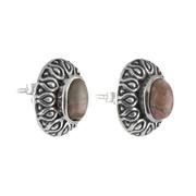 Сребърни обеци с родохрозит в орнаментиран обков на винт