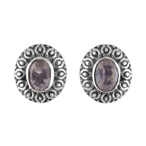 Сребърни обеци с розов кварц в орнаментиран обков на винт