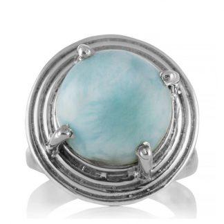 Сребърен пръстен с едър ларимар