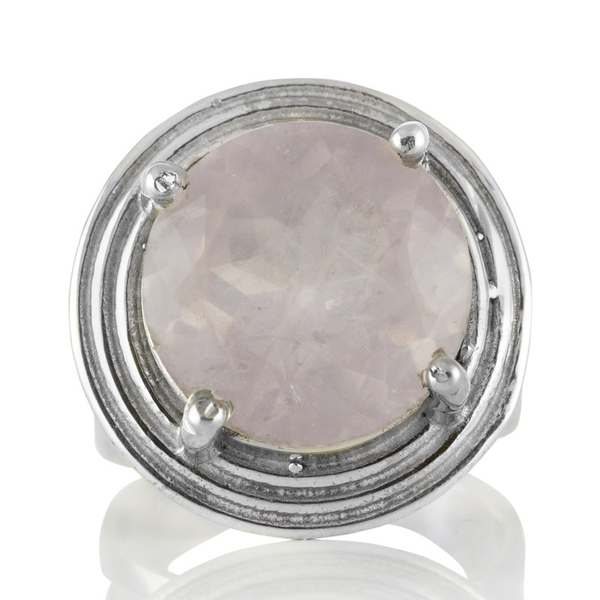 Сребърен пръстен с едър фасетиран розов кварц