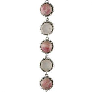 Сребърна гривна с родохрозит и фасетиран розов кварц