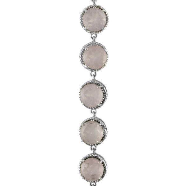 Сребърна гривна с фасетиран розов кварц