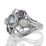 Сребърен пръстен със син топаз, аметист и лунен камък