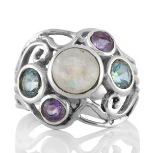 Сребърен пръстен с лунен камък, аметисти и сини топази