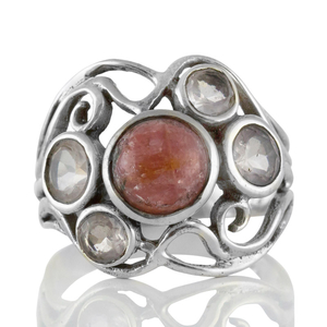 Сребърен пръстен с родохрозит и розов кварц