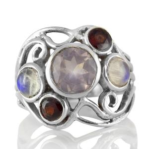 Сребърен пръстен с розов кварц, гранат и лунен камък