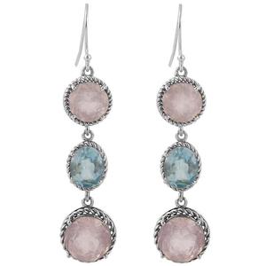 Висящи сребърни обеци с розов кварц и син топаз