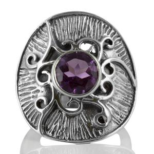 Орнаментиран сребърен пръстен с аметист