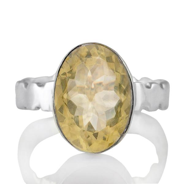 Изчистен сребърен пръстен с цитрин