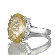 Изчистен сребърен пръстен с фасетиран цитрин