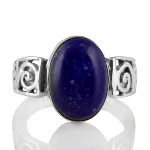 Сребърен пръстен с лазурит (лапис лазули) и орнаментирана халка