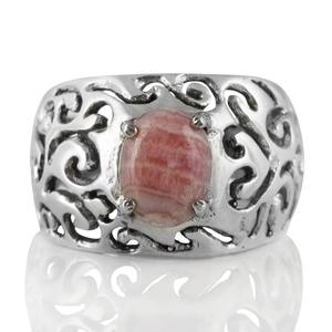Орнаментиран сребърен пръстен с родохрозит