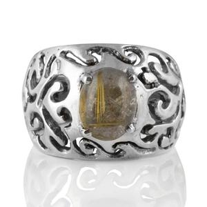 Орнаментиран сребърен пръстен с рутилов кварц (Косите на Венера)