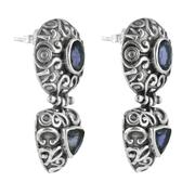 Орнаментирани сребърни обеци с иолит на винт