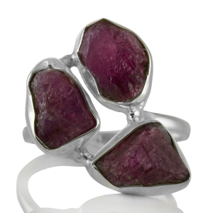 Сребърен пръстен с необработени турмалини