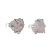 Малки сребърни обеци с необработен розов кварц на винт