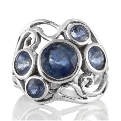 Сребърен пръстен с фасетирани кианити