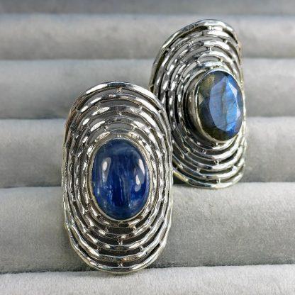 Масивен сребърен пръстен с кианит