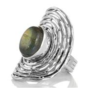 Масивен сребърен пръстен с кабошон лабрадорит
