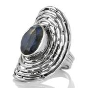 Масивен сребърен пръстен с фасетиран лабрадорит