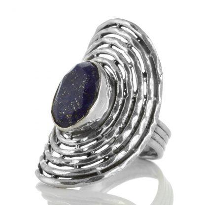 Масивен сребърен пръстен с фасетиран лапис лазули (лазурит)