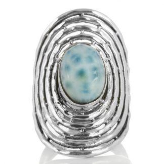 Масивен сребърен пръстен с ларимар