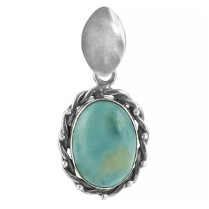 Сребърен медальон с овален ларимар