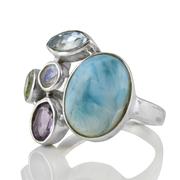 Сребърен пръстен с ларимар, син топаз, перидот, аметист и лунен камък
