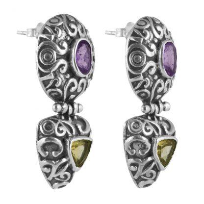 Орнаментирани сребърни обеци с аметист и цитрин на винт