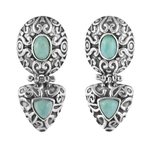 Орнаментирани сребърни обеци с ларимар на винт