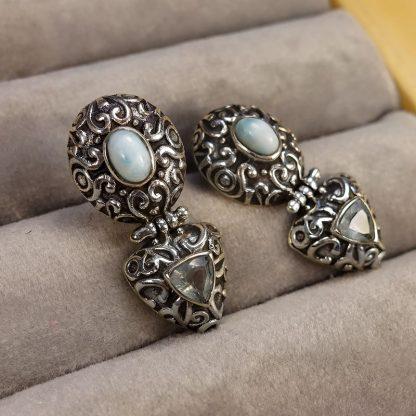 Орнаментирани сребърни обеци с ларимар и син топаз на винт