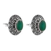 Сребърни орнаментирани обеци със зелен оникс на винт