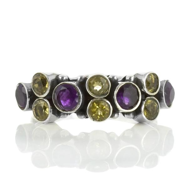 Сребърен пръстен с цитрини и аметисти