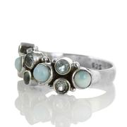 Сребърен пръстен с ларимари и сини топази