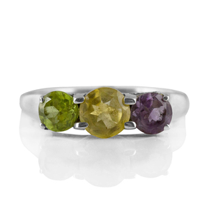Нежен сребърен пръстен с цитрин, аметист и перидот