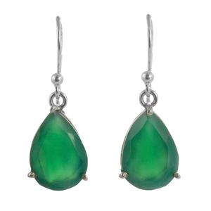 Нежни сребърни обеци с капковиден зелен оникс